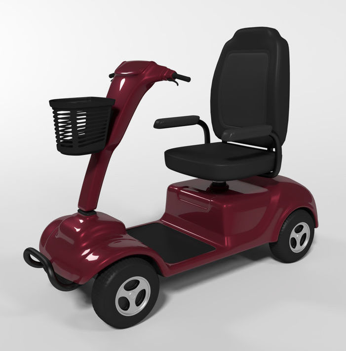 Maroon scooter wheelchair